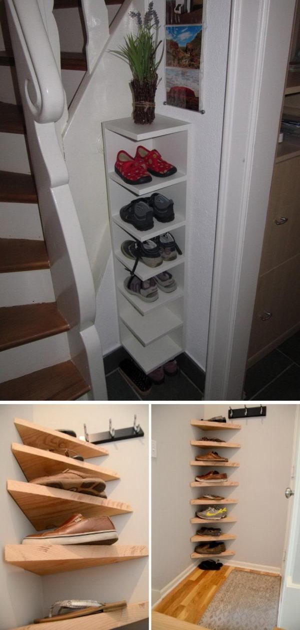 DIY Corner Shoe Storage Shelves.