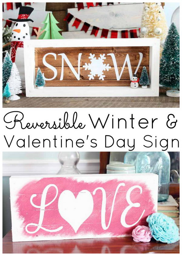 Reversible Winter And Valentine's DAY Sign.