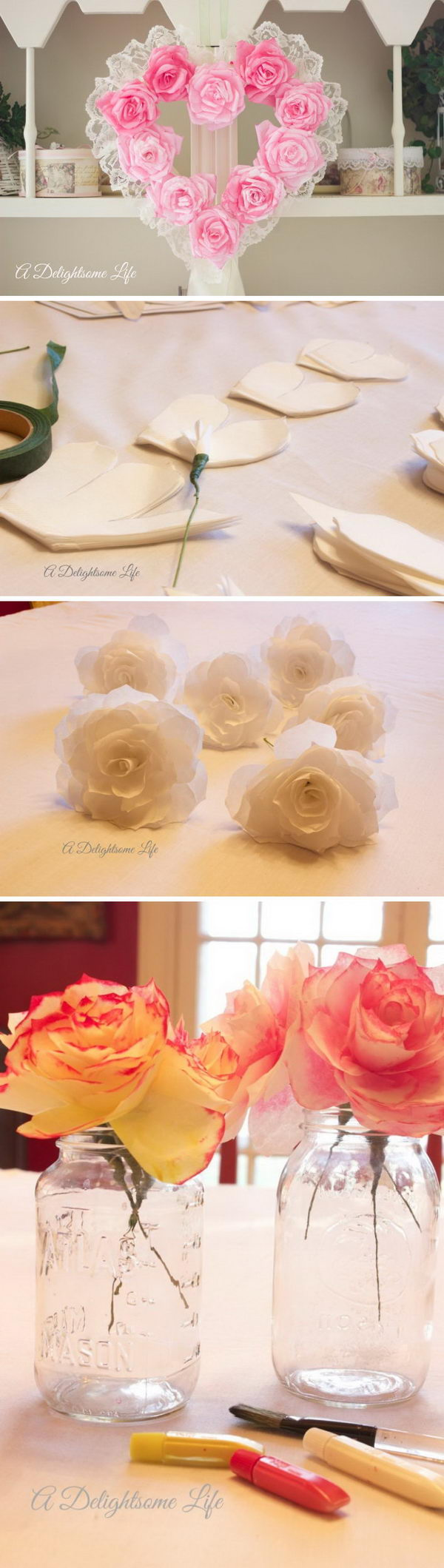 DIY Coffee Filter Rose Heart-Shaped Wreath.