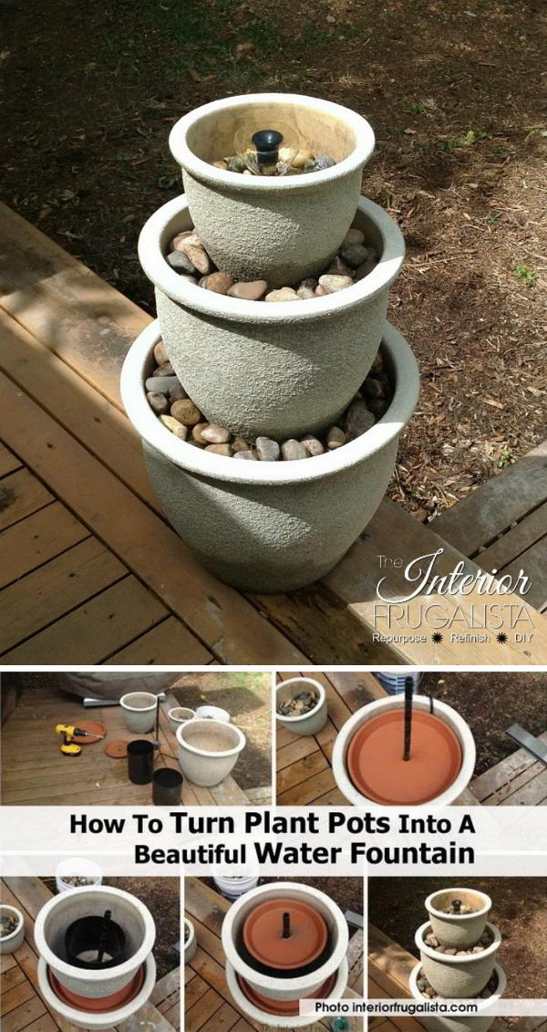 DIY Water Fountain Made From Plant Pots.