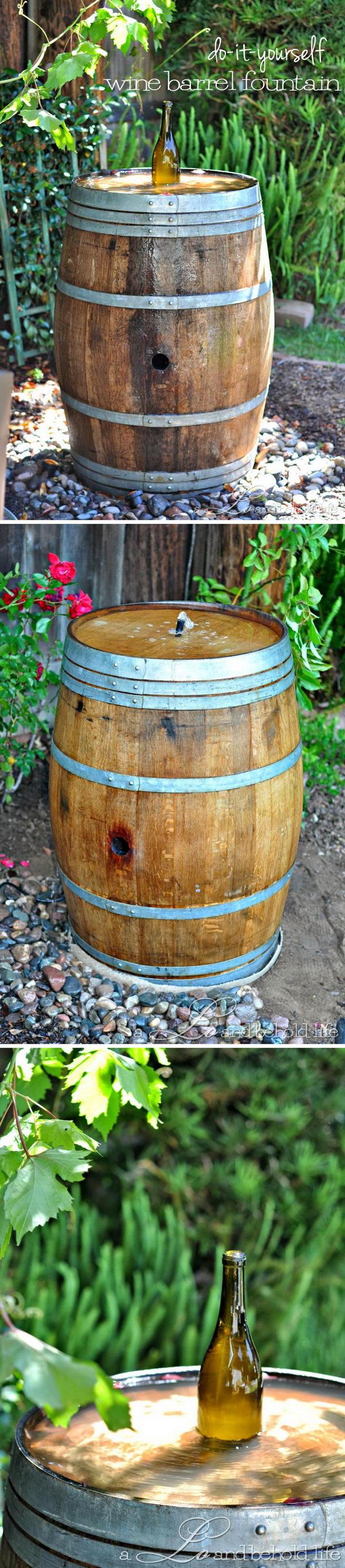 Wine Barrel Water Fountain.