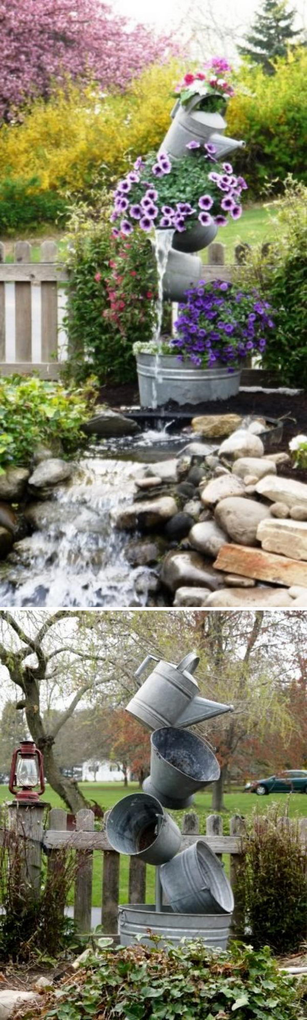 Galvanized Tipsy Pots Water Fountain.