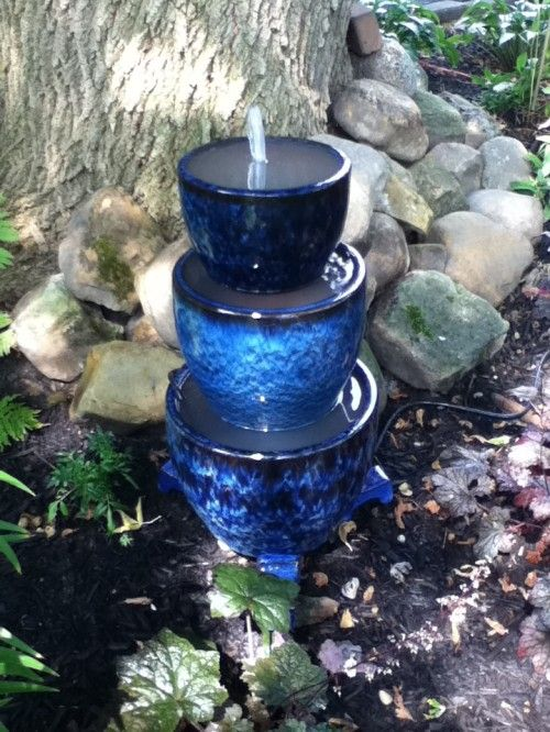 DIY Tiered Blue Planters Fountain.