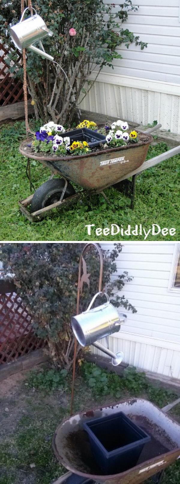 DIY Wheelbarrow And Flower planter Fountain.