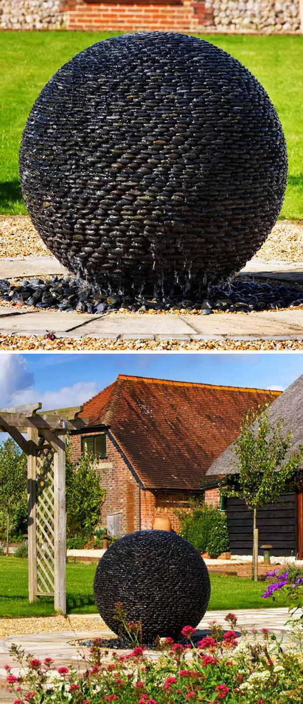Dark Planet Fountain Made From Hundreds Of Black Puddle Stones.
