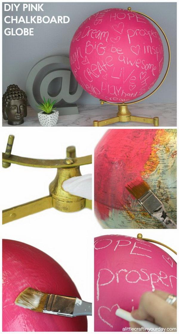 DIY Pink Chalkboard Globe.