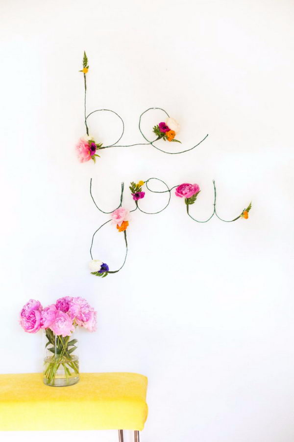 DIY Floral And Wire Words.