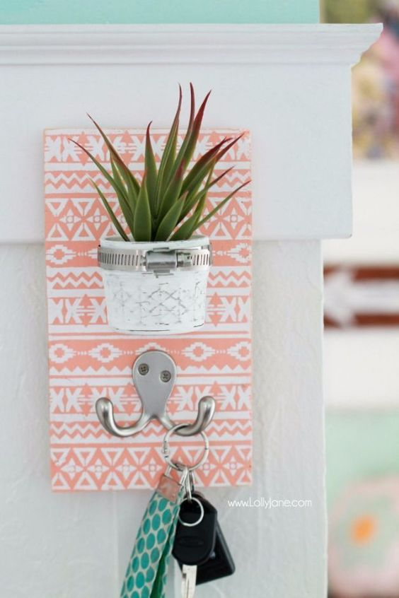 DIY Stenciled Succulent Key Hook.