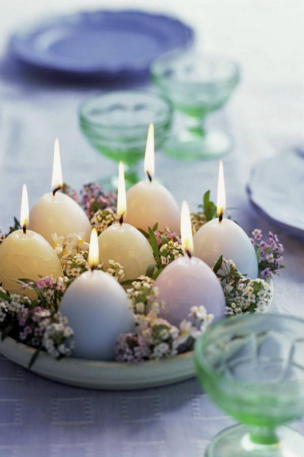 Easter Egg Candles Centerpiece.