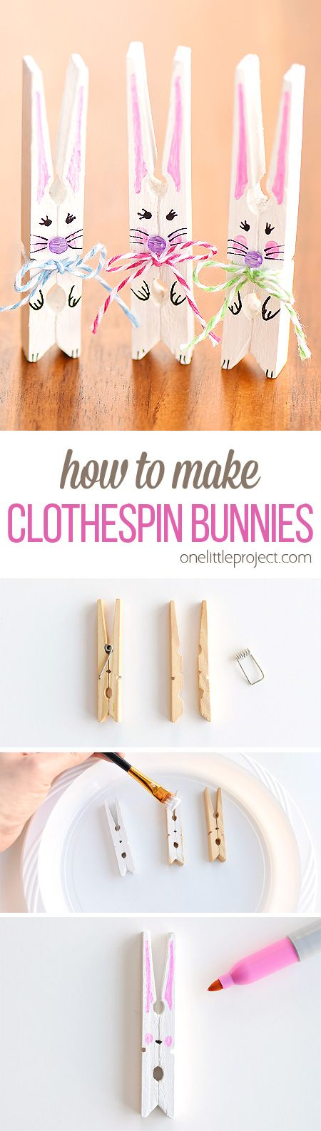 DIY Clothespin Bunnies.