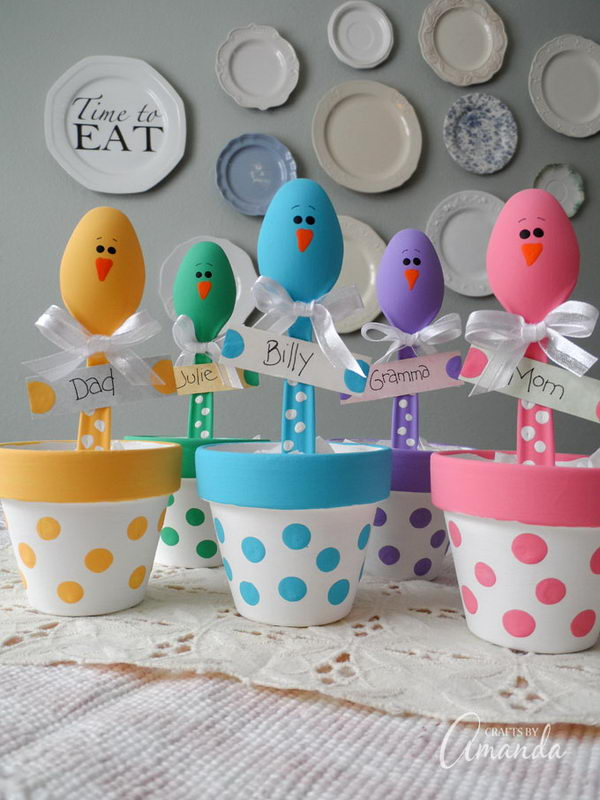 Plastic Spoon Chicks For Easter.