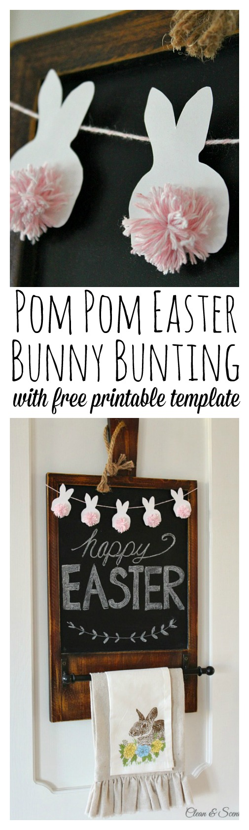 Easter Bunting with Pom Pom Bunnies.
