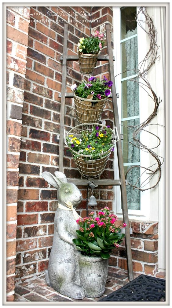 DIY Wire Basket Planters and Ladder Plant Stand.