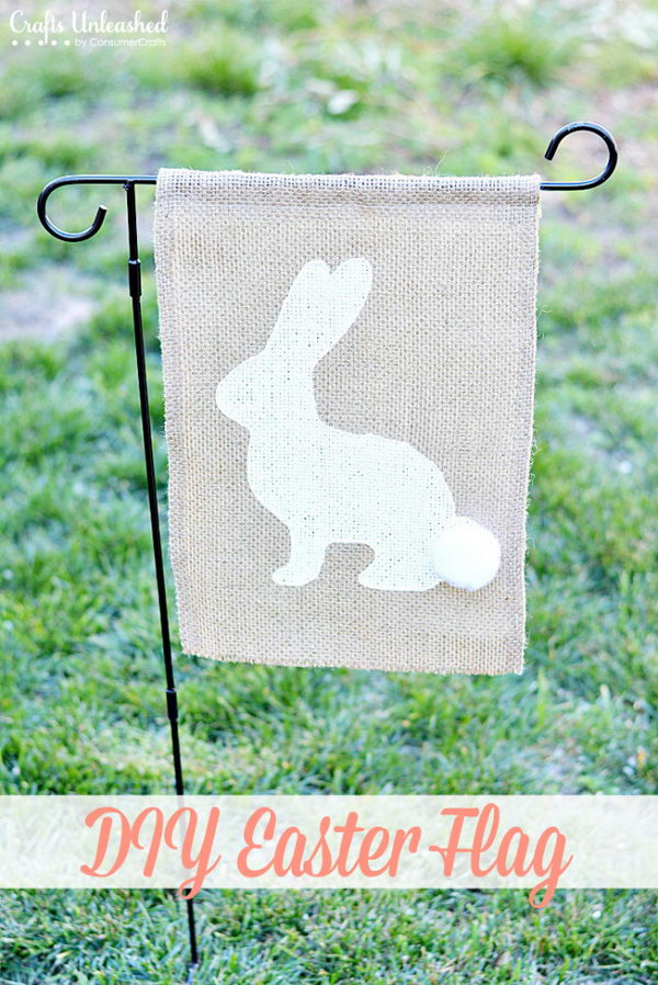DIY Burlap Easter Flag.