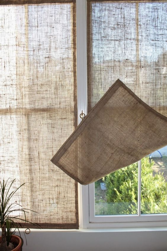 Simple Burlap Shades Window Treatment.