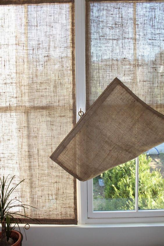Simple Burlap Shades Window Treatment.