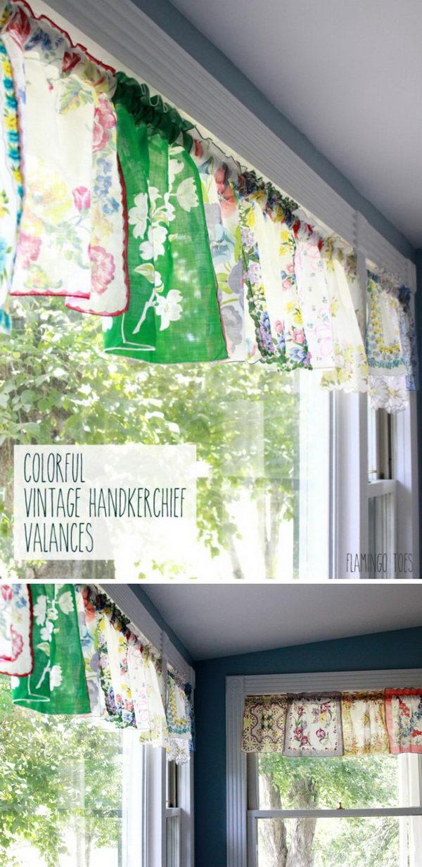 Colorful Vintage Handkerchief Valances.