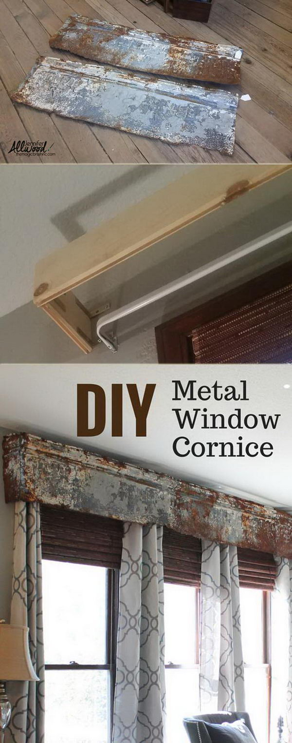 Recycled Rusty Tin Panel Window Valance.