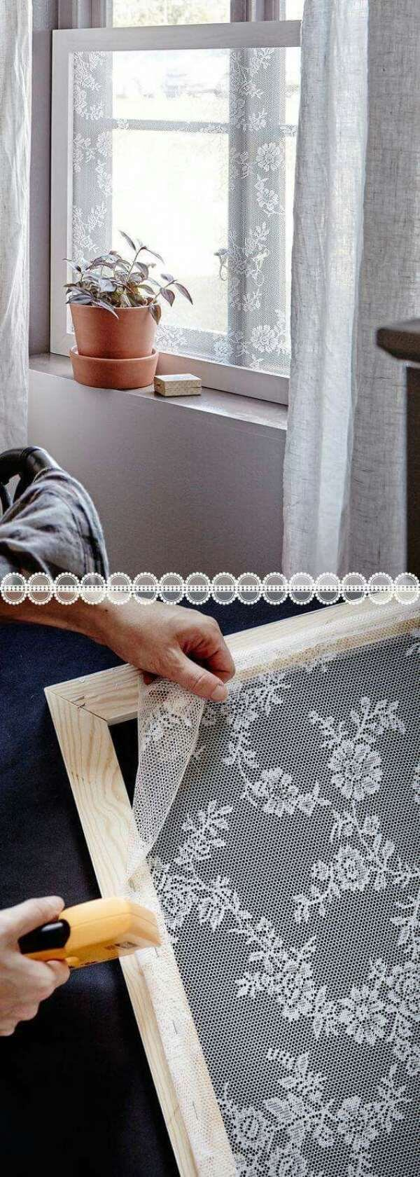 DIY Lace Privacy Windows.