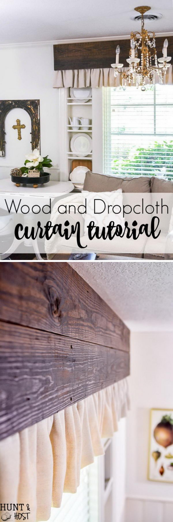 Wood and Dropcloth Curtains.