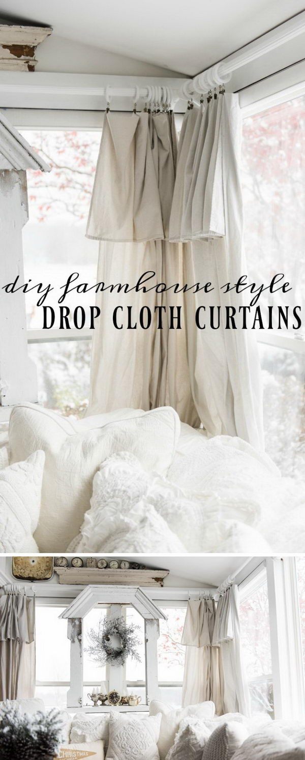 DIY Drop Cloth Curtains.