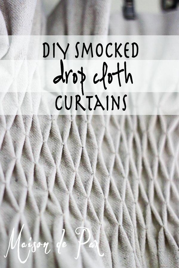 DIY Drop Cloth Smocked Curtains.