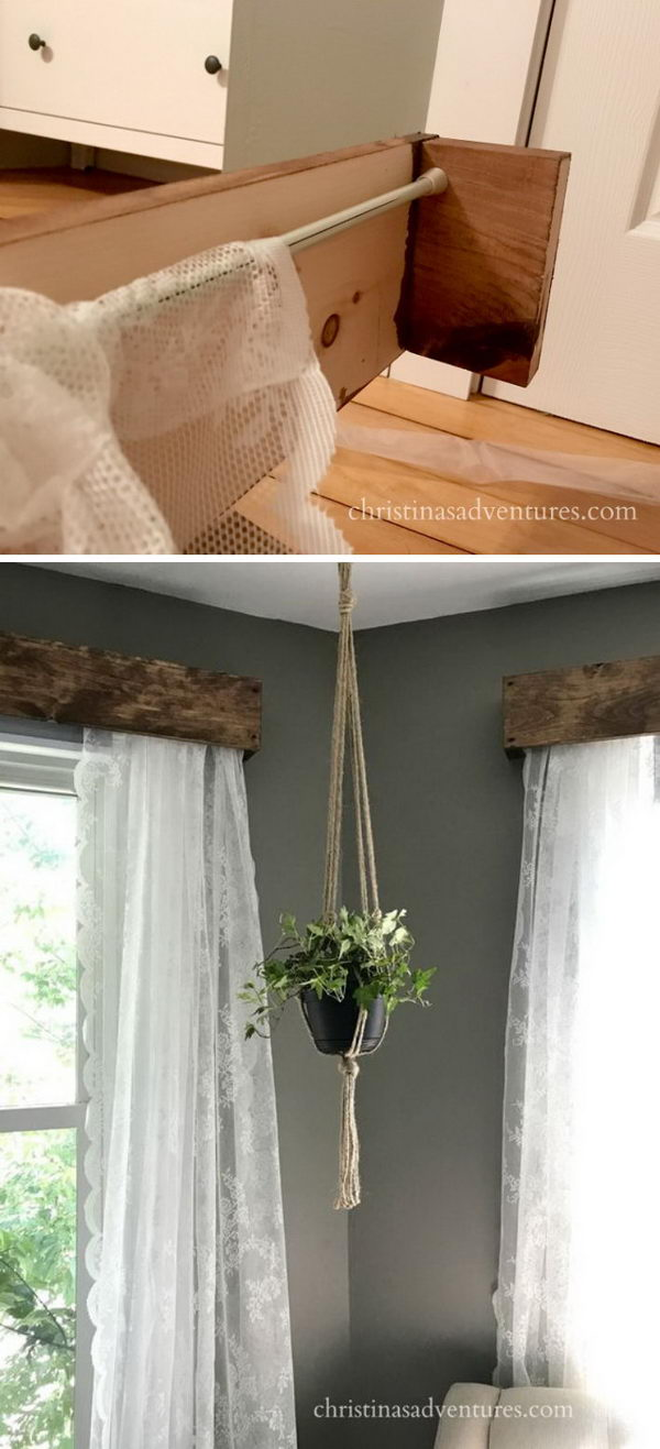 DIY Rustic Window Valances with Lace Curtains.